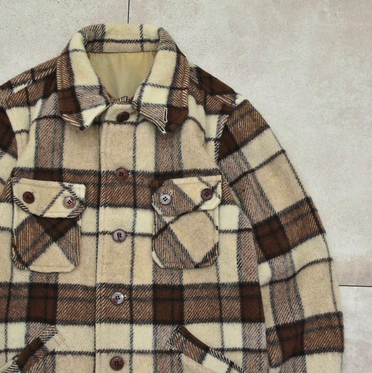 Deformation collar check wool jacket