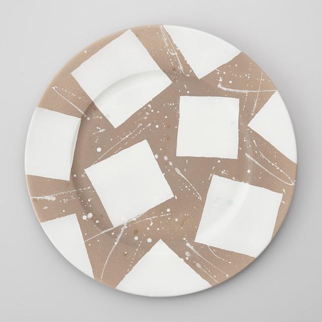 【親峯窯】茶焼き締め折り紙紋30㎝皿