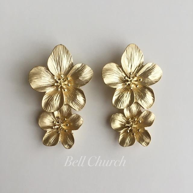 ウェディングピアス|お花モチーフ|ゴールド (BC-E26)