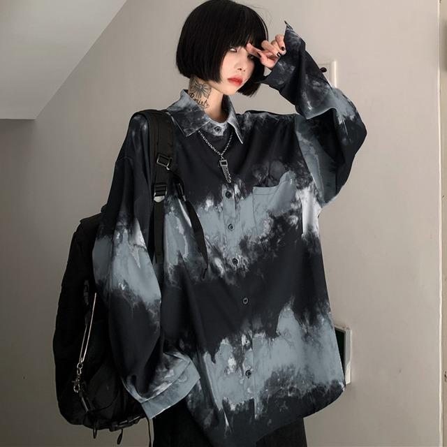 【都谷シリーズ】★シャツ★ トップス 原宿風 男女兼用 メンズ カップル服 プリント 個性的 フリーサイズ ゆったり