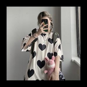 【お取り寄せ】ハート柄 ゆるTシャツ 2色