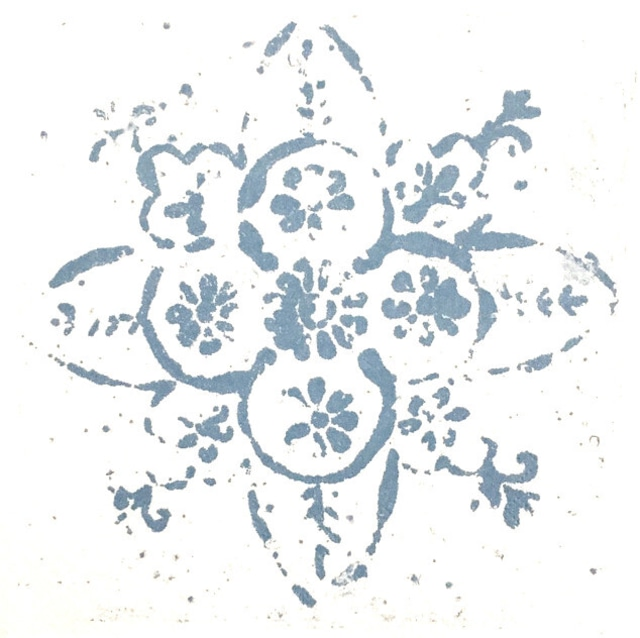 北欧【Ib Laursen】バラ売り1枚 ランチサイズ ペーパーナプキン ROSETTE PATTERN ダスティーブルー