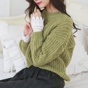 Cute♡バック編み込みクルーネックセーター