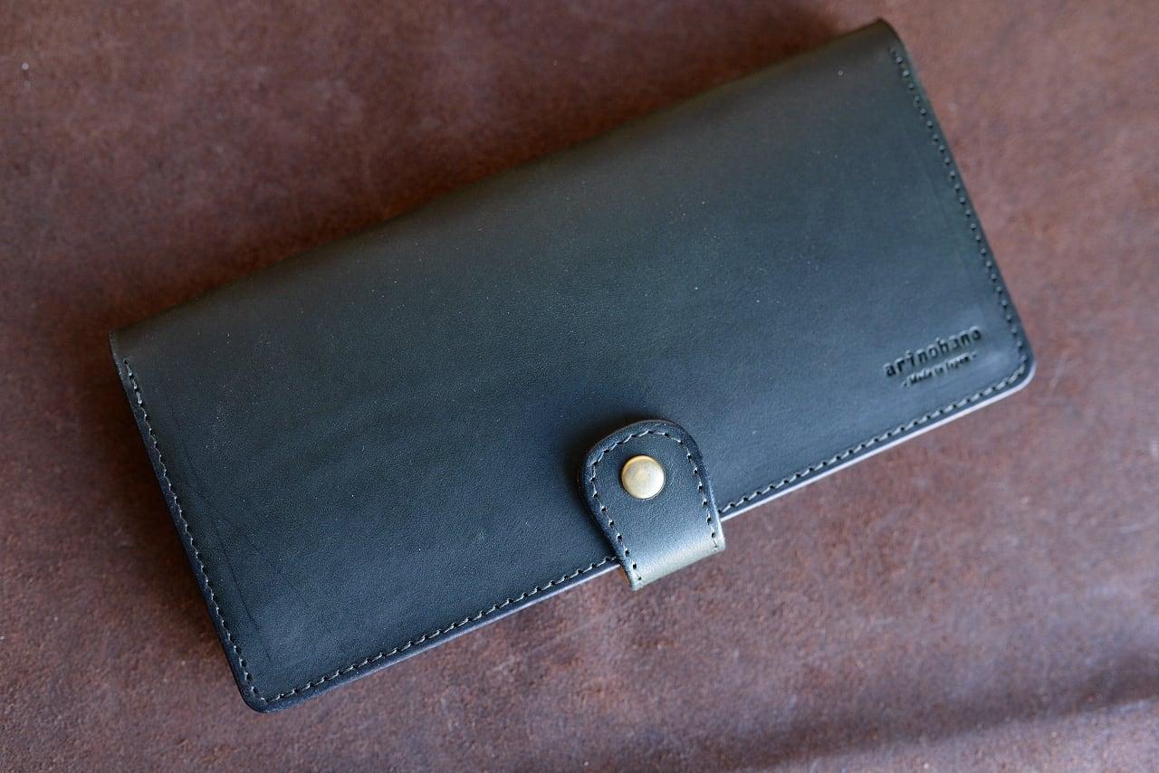 深緑の牛革の長財布(札入れ)