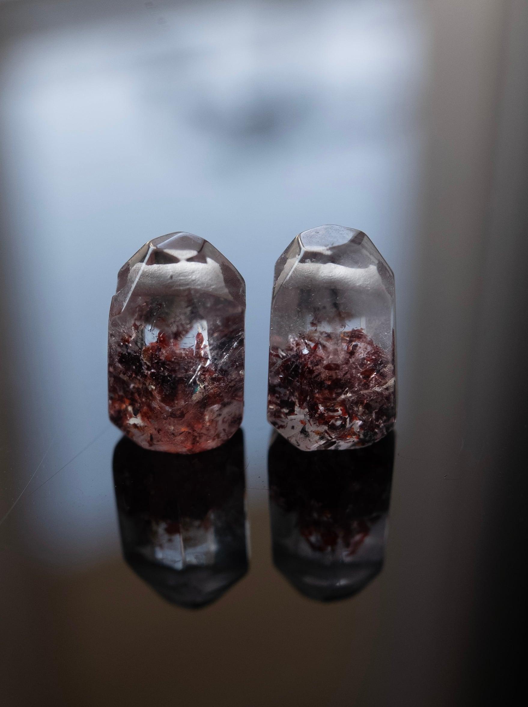 Lepidocrocite in Quartz / Pair - 006