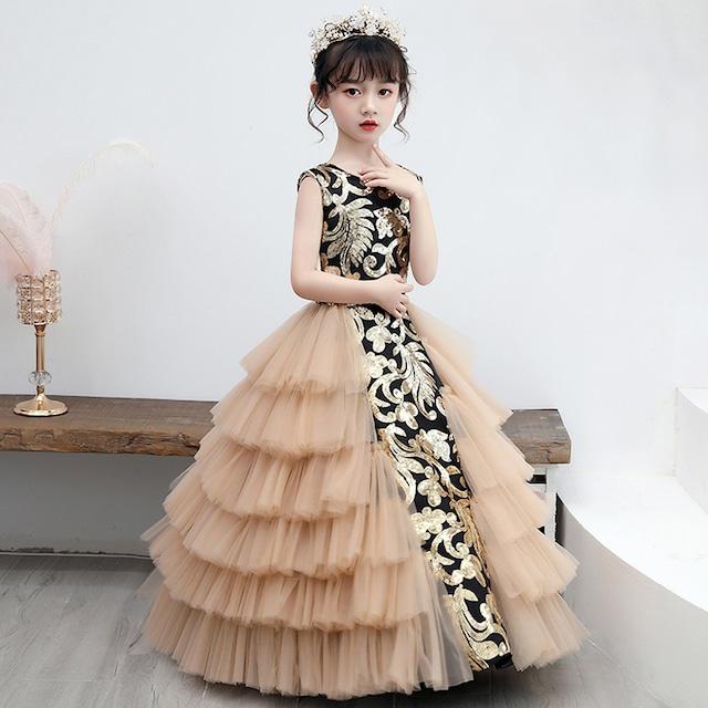 子供ドレス 演出装 舞台装 女の子 ワンピース 100~160 プレゼント 誕生日 ボールガウン ゴールド スパンコール