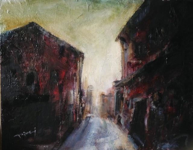 紅い村の一角 (F8号 45.5cm×33cm)