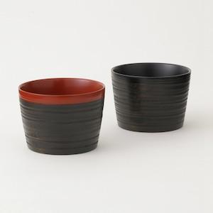 香川漆器 象谷塗フリーカップ ペアセット 朱&黒 中田漆木