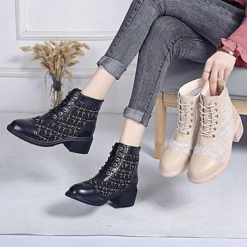 異素材切り替え ショートブーツ シューレース 5cm ヒール 太ヒール 韓国ファッション レディース 歩きやすい 履きやすい かわいい おしゃれ 大人可愛い 628589861082