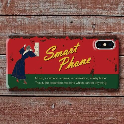 レトロポスター/アメリカンブリキ看板調/ヴィンテージ看板調/スマートフォン/レッド・グリーン/iPhoneスマホケース(ハードケース)