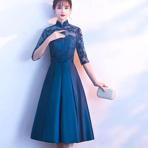 【送料無料】ロング丈 チャイナ風ドレス 総レース シースルー 五分袖 フレア ブルー 結婚式 二次会 お呼ばれ(B080)