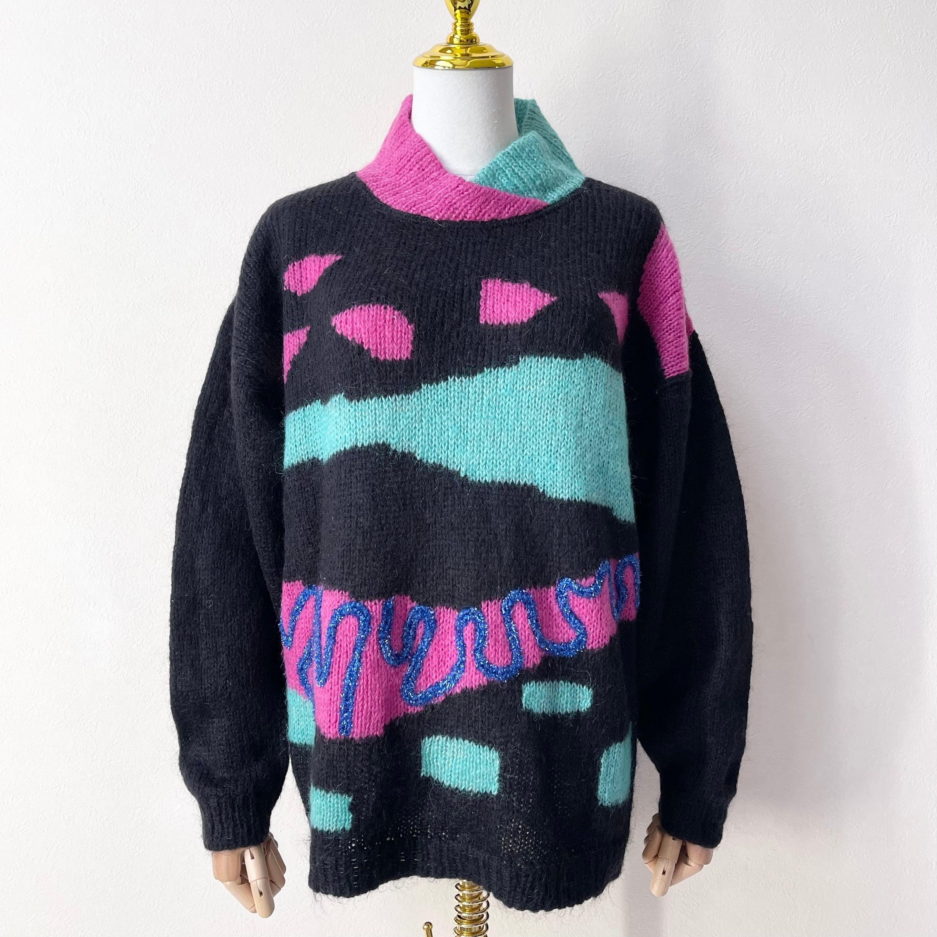 ヨーロッパ ITALY製 モヘア混 デザインセーター 90年代 レディース古着