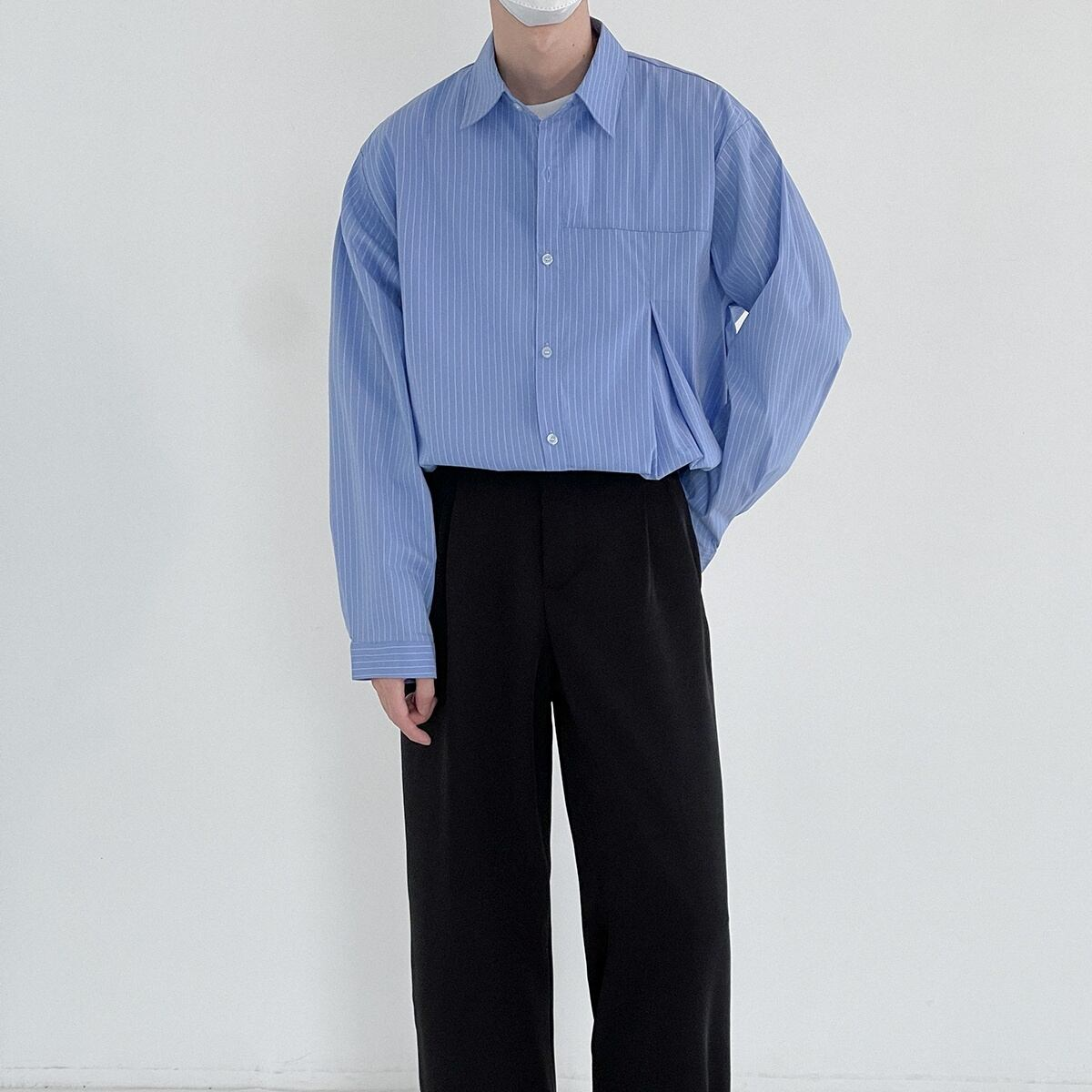 Slit stripe casual shirt   b-462