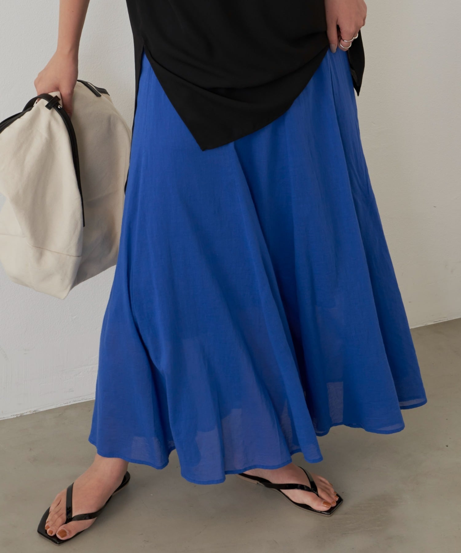 コットンフレアラインスカート/BLU