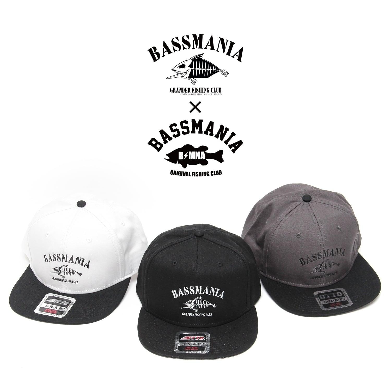 【bassmania×グランダー武蔵】スケルトン刺繍フラットCAP【限定受注生産】