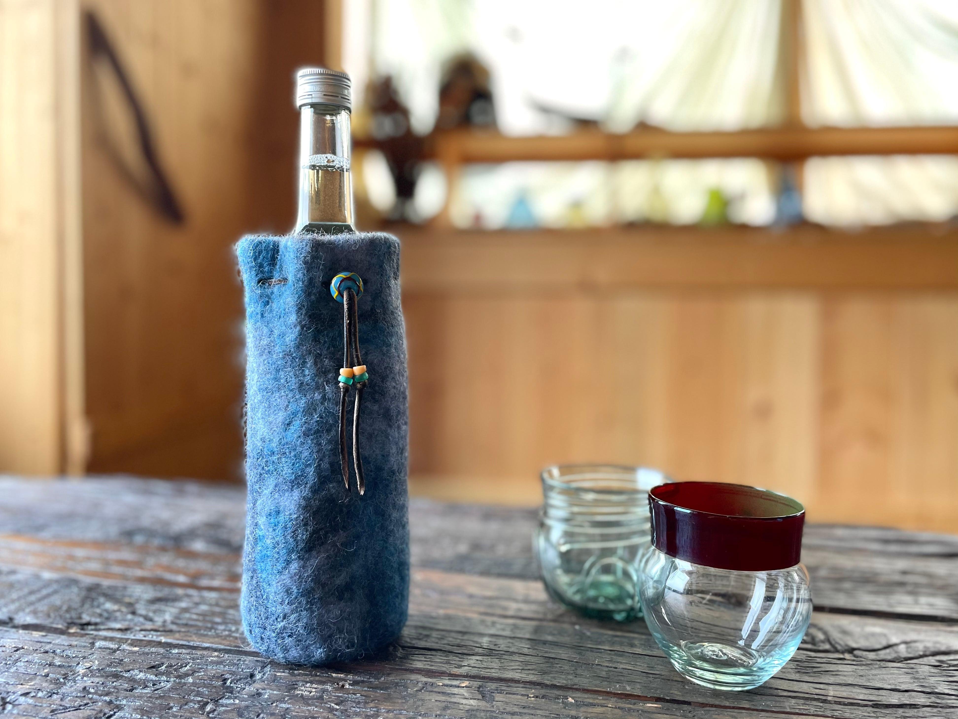 ボトルカバー(ガラスボトル、ペットボトル兼用)[ウール100%]