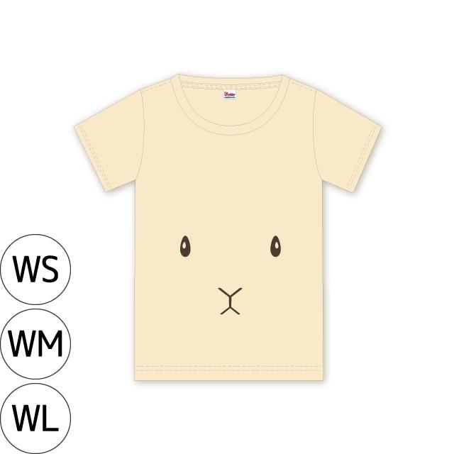 〈在庫限り〉うさぎフェイス Tシャツ【襟ぐり広めのWS ナチュラル】