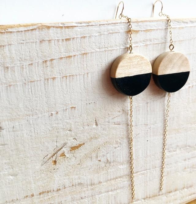 By color wood pierced earrings / OTB-73