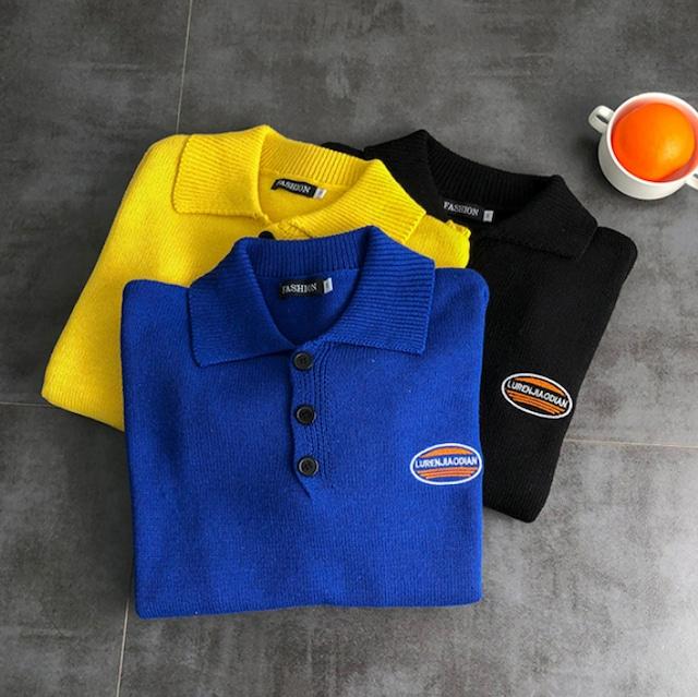 【最短2日で発送】【数量限定】Front button point logo sweater LD0559