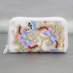 ラウンド小財布099白蝶柄ビーズ刺繍