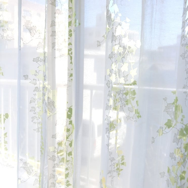 【最短6営業日で出荷】オパールレースカーテン「Ivy アイヴィー イエローグリーン」 (幅×丈):100×133cm(2枚組) ac-0082