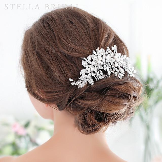 【受注生産品】スワロ使用 リーフチャームのブライダルヘッドドレス Lenora -  レノーラ  |ウェディングヘアアクセサリー