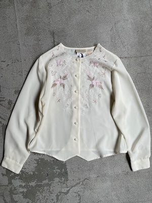 vintage embroidery sheer blouse