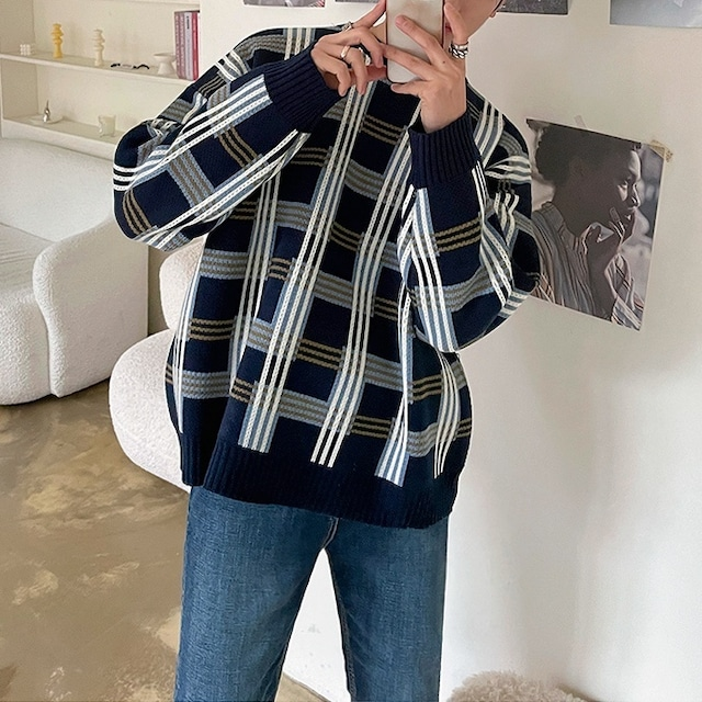 Mesh check design sweater   b-538