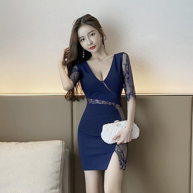 肌見せ レース 韓国 ドレス SEXY キャバドレス ミニドレス MY2053