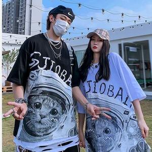 【トップス】男女兼用ペアルックキュート猫図柄半袖ストリートプリントTシャツ28036142