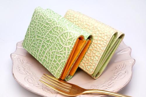 メロンな3つ折り小財布(牛革製)/赤肉・青肉タイプ