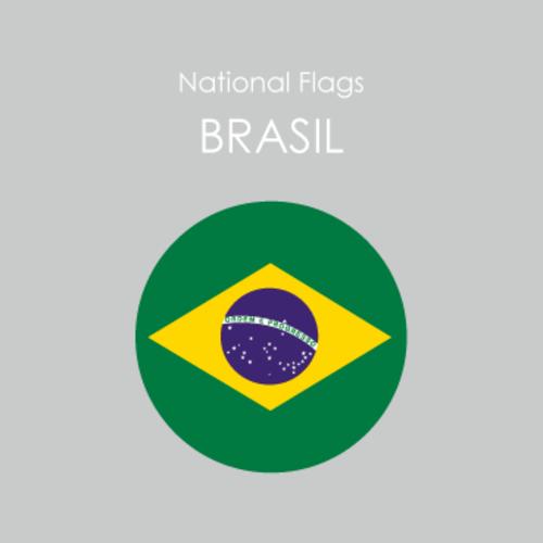 円形国旗ステッカー「ブラジル」
