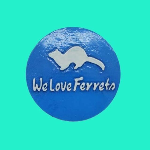 We Love Ferrets マグネットステッカー ⑨キャスト製(直径80mm)(スカイブルー・文字:ホワイト)無料配送