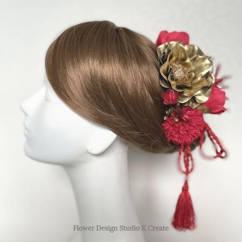 和装婚・成人式に♡ゴールドのアネモネと赤いマムのヘッドドレス(14本セット) 紫陽花 卒業袴 結婚式 成人式