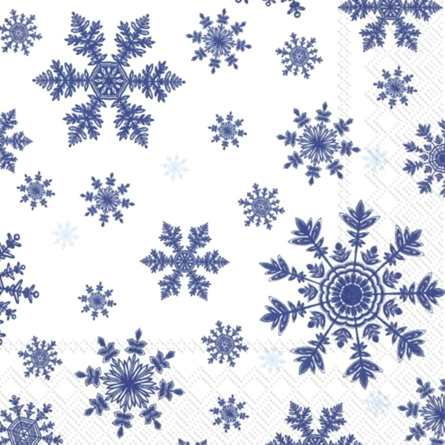 2021秋冬【IHR】バラ売り2枚 ランチサイズ ペーパーナプキン FALLING SNOWFLAKES ホワイトxブルー