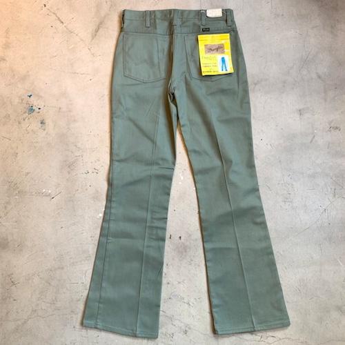 70's 80's WRANGLER Flare Leg JEANS ブーツカットパンツ デッドストック フラッシャー付き セージグリーン NOS W30 USA製 TALON セミオートマチック 希少 ヴィンテージ BA-1033 RM1402H