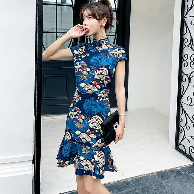 花柄チャイナドレス 半袖 マーメイドライン エレガント 着痩せ S M L LL 気質よい 改良型ブルー 青い
