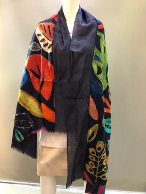 LARIOSETA イタリア製 ウール無地+プリント縫い付けショール DPK31/10683