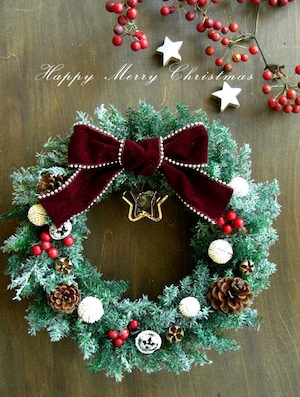 星もキラキラフロストグリーンのシックなクリスマスリース *27.5 センチ