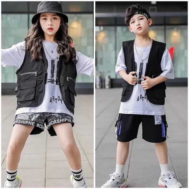 110~170cm 2タイプ ★ 男の子 女の子 セットアップ セットアイテム 3点セット チョッキ Tシャツ ショートパンツ