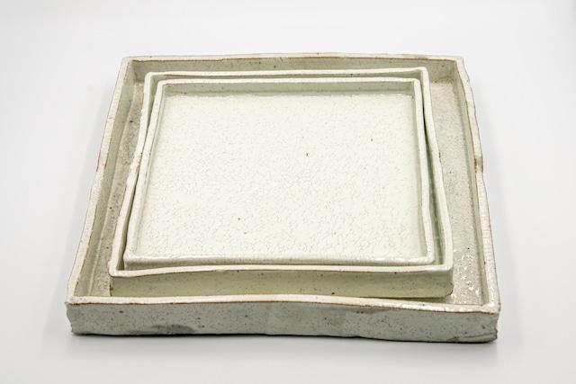 ◆受注生産◆ 粉引尺切立正角皿 三浦繁久作