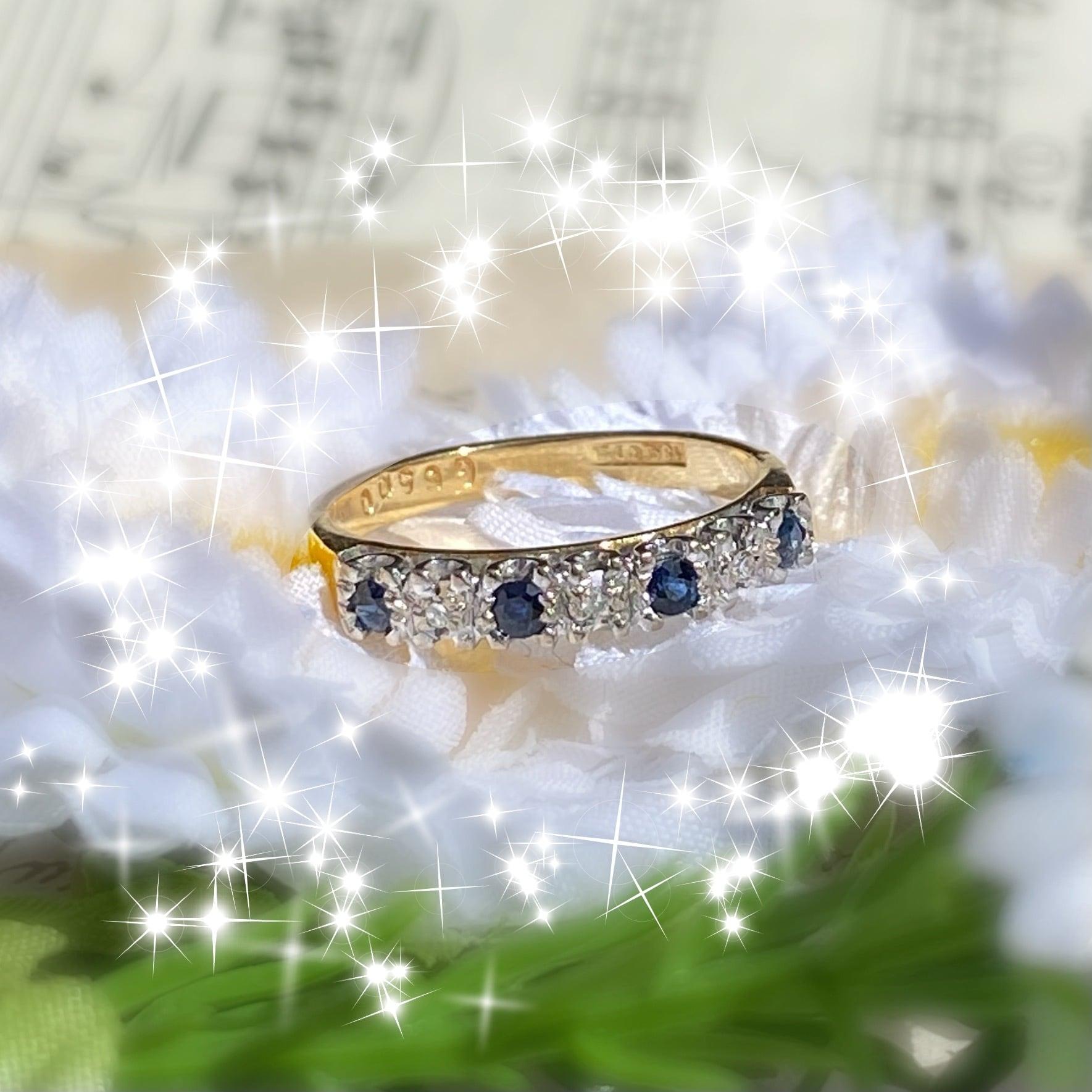 【M様ご購入画面】イギリス1930'S  ヴィンテージ 18金リング ブルーサファイア ダイヤモンド