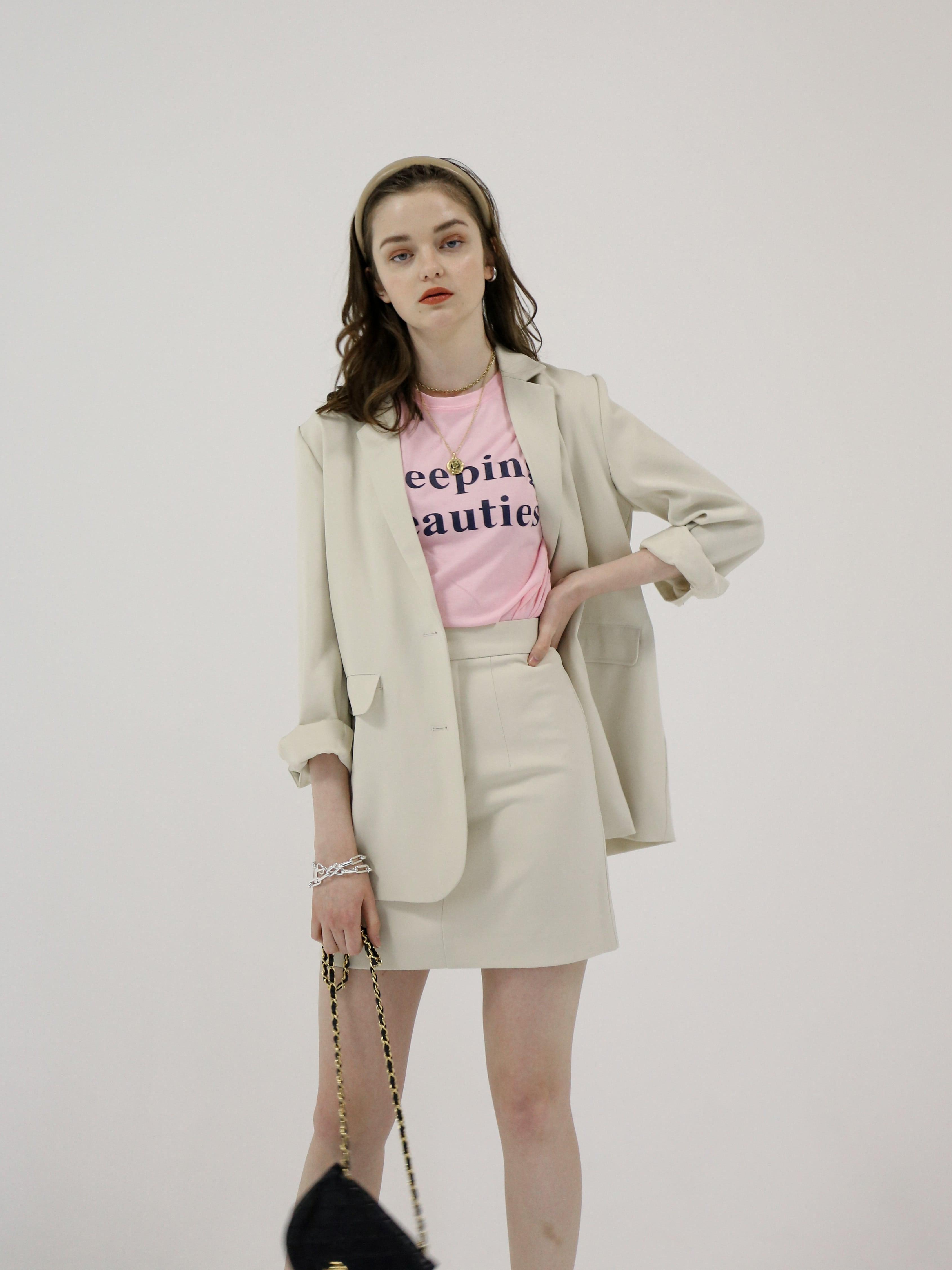 high-waist box skirt(ivory)