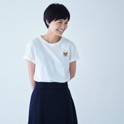 TEE SHIRT SMILE PATCH WHITE for WOMAN