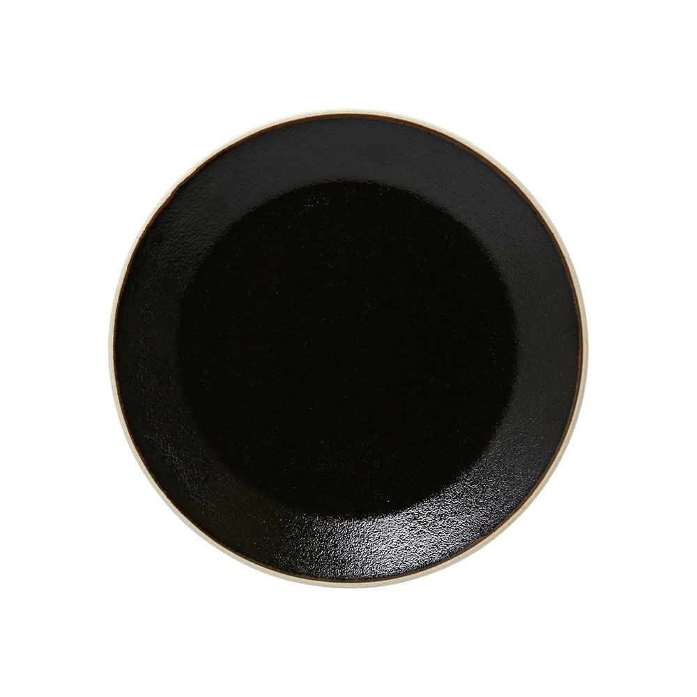 益子焼 つかもと窯 「伝統釉」 フラット プレート 皿 S 約18cm ゆず肌黒 TH-5