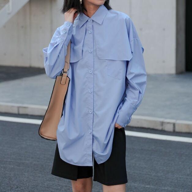 【残りわずか】Blue design loose shirt(ブルーデザインルーズシャツ)a-801