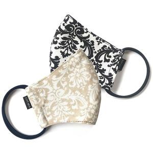 【新作レディース2枚セット 夏用デザイナーズマスク COOLMAX使用 日本製】ジャガード柄 ブラック & ベージュ色