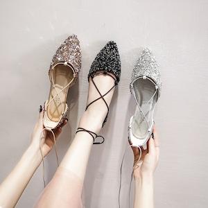 パンプス 3色レディース フラット シューズ スパンコール ぺたんこ靴 通勤 夏 秋 春 大きいサイズ 小さいサイズ7092