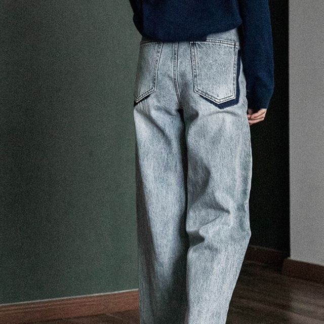 Two tone  design denim pants(ツートーンデザインデニムパンツ)b-075