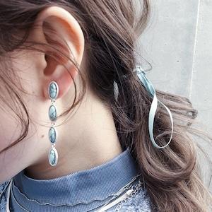 EARRINGS    MARBLE TRIPLE EARRINGS (SILVER)    1 PAIR     SILVER    FAF646